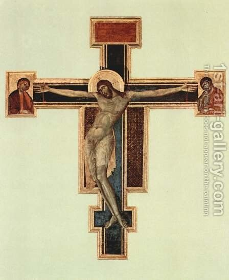 Crucifixion in Santa Croce in Florence, before 1966 state by (Cenni Di Peppi) Cimabue - Reproduction Oil Painting