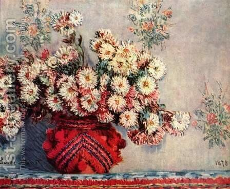 Still life with chrysanthemums by Claude Oscar Monet - Reproduction Oil Painting
