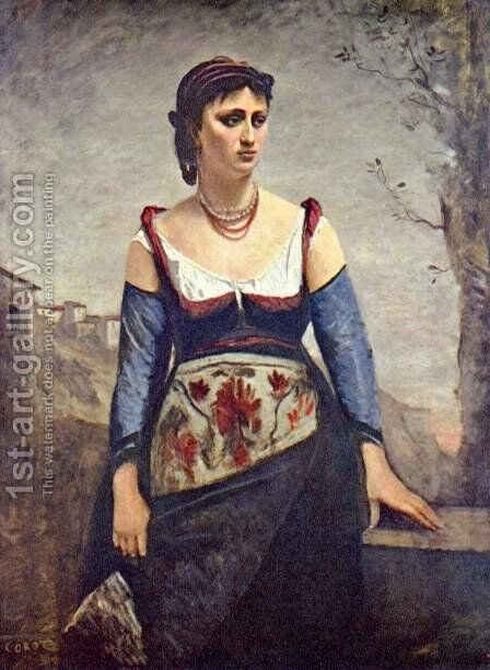 Agostina, the Italian by Jean-Baptiste-Camille Corot - Reproduction Oil Painting