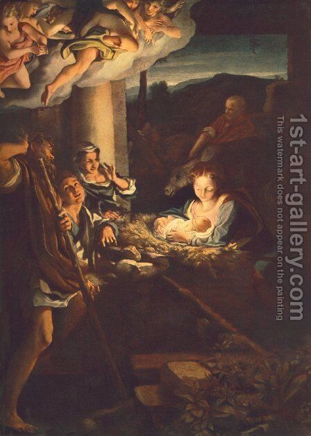 Adoration of the Shepherds (The night) by Correggio (Antonio Allegri) - Reproduction Oil Painting