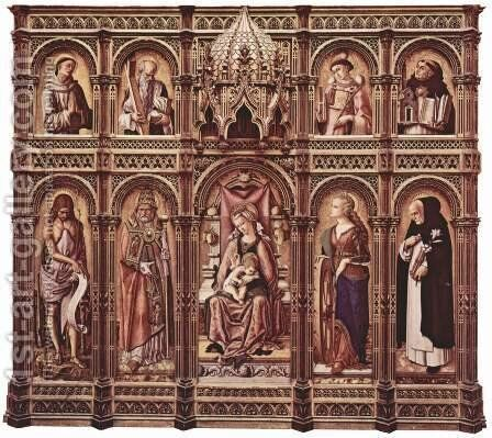 Altar of San Domenico at Ascoli, polyptych general view by Carlo Crivelli - Reproduction Oil Painting