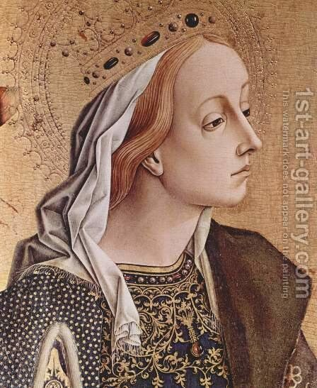 Polyptych altar of San Francesco at Montefiore dell 'Aso, left outer panel of St. Catherine of Alexandria, Detail by Carlo Crivelli - Reproduction Oil Painting