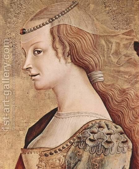 Polyptych altar of San Francesco at Montefiore dell 'Aso, right outer panel of St. Mary Magdalene, Detail by Carlo Crivelli - Reproduction Oil Painting