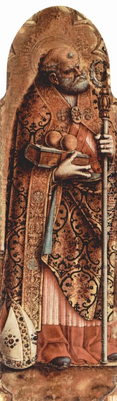 Polyptych altar of San Martino Monte San Martino, left outer panel of St. Nicholas by Carlo Crivelli - Reproduction Oil Painting