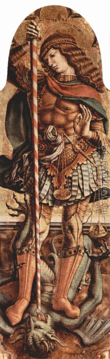Polyptych altar of San Martino in Monte San Martino, right internal top board St. Roch by Carlo Crivelli - Reproduction Oil Painting