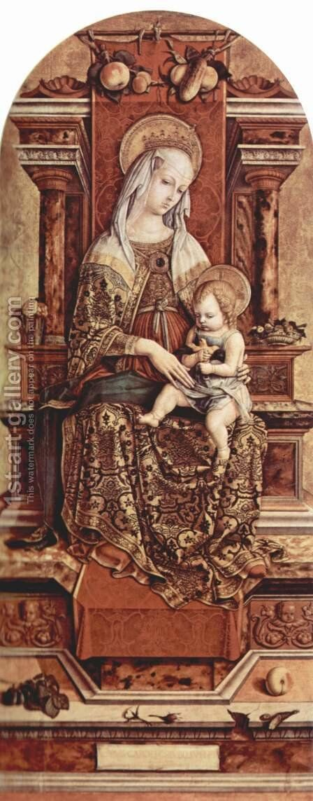 Altar triptych, middle panel Enthroned Madonna by Carlo Crivelli - Reproduction Oil Painting