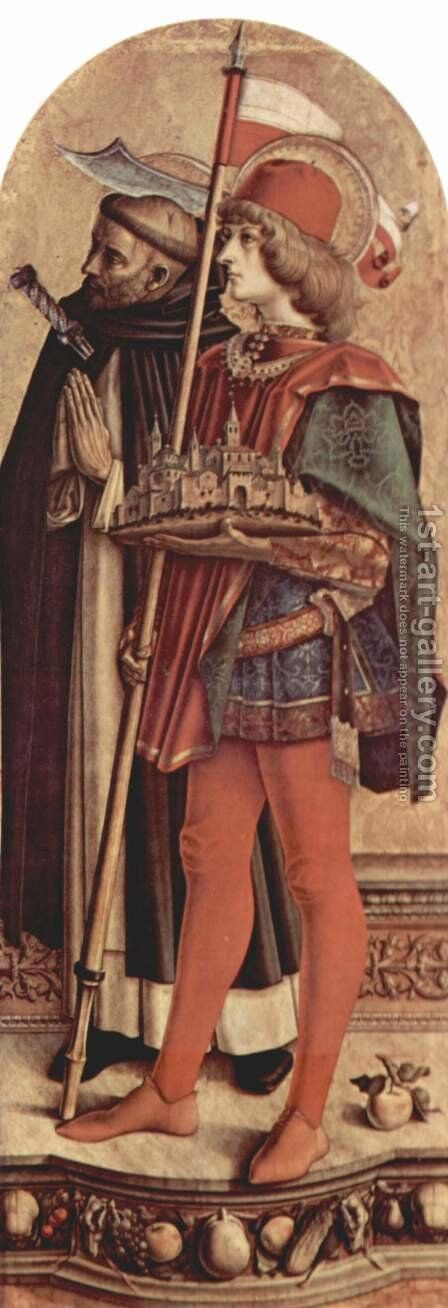 Altar triptych, right panel St. Peter Martyr and St. Venantius of Camerino by Carlo Crivelli - Reproduction Oil Painting