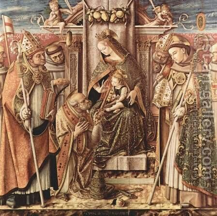 The handover of the key scene Enthroned Madonna with Child, St. Peter, receives the key by Carlo Crivelli - Reproduction Oil Painting