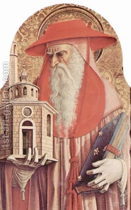 Main altar of the Cathedral of Ascoli, polyptych, inner left table St. Jerome by Carlo Crivelli - Reproduction Oil Painting