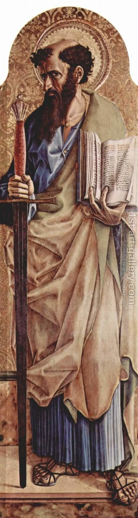 Main altar of the Cathedral of Ascoli, polyptych, on the right panel of St. Paul by Carlo Crivelli - Reproduction Oil Painting