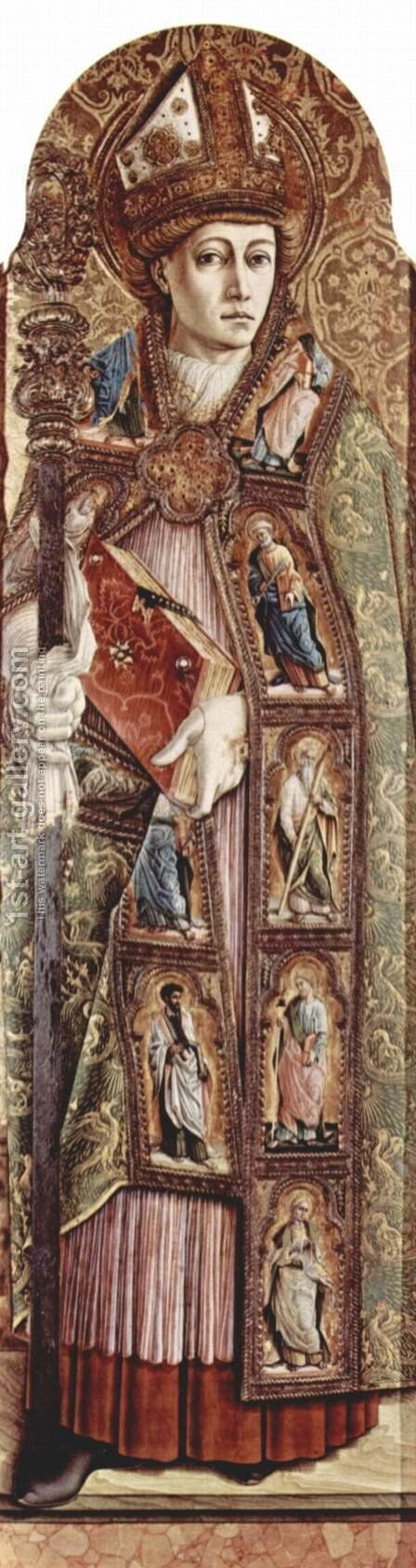 Main altar of the Cathedral of Ascoli, polyptych, right inner panel Holy Emidius by Carlo Crivelli - Reproduction Oil Painting