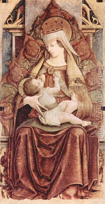 Enthroned Madonna (Madonna Enthroned lactans) by Carlo Crivelli - Reproduction Oil Painting