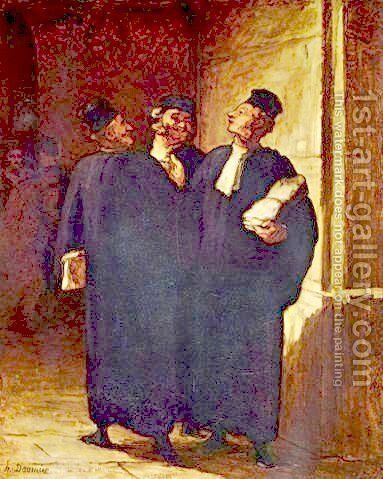 Three lawyers in conversation by Honoré Daumier - Reproduction Oil Painting