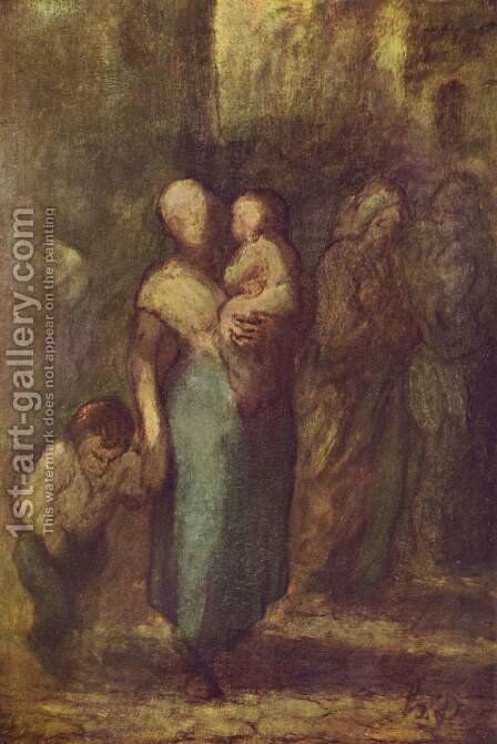 In the street by Honoré Daumier - Reproduction Oil Painting