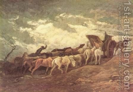 Drawn horses by Honoré Daumier - Reproduction Oil Painting