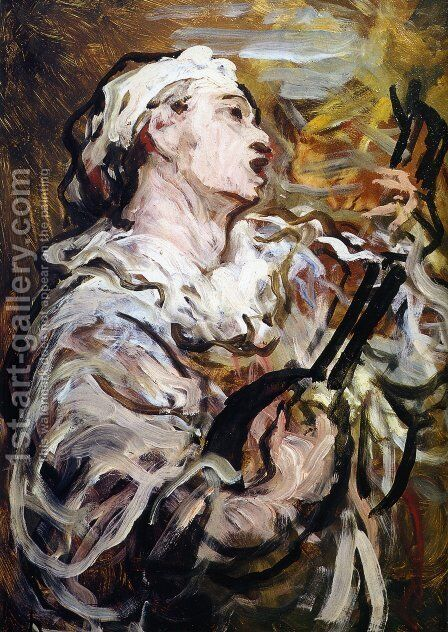 Pierrot with Guitar by Honoré Daumier - Reproduction Oil Painting
