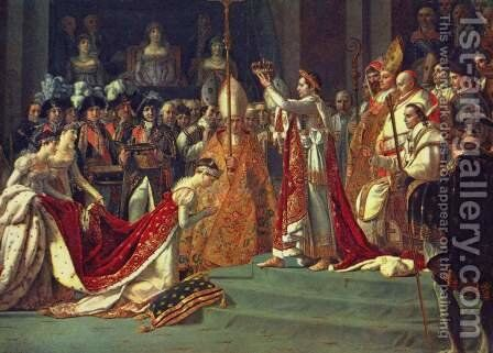 Anointing of Napoleon I and Coronation of the Empress Josephine. Napoleon stands behind Pope Pius VII by Jacques Louis David - Reproduction Oil Painting