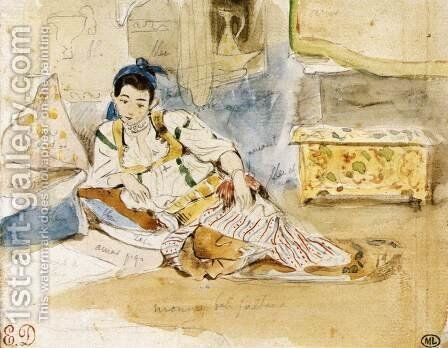Women of Algiers (study) by Eugene Delacroix - Reproduction Oil Painting