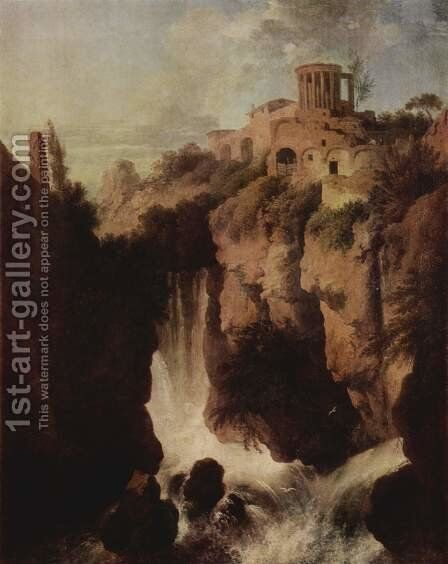 Waterfalls at Tivoli by Christian Wilhelm Ernst Dietrich - Reproduction Oil Painting