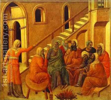 Maesta, altarpiece of Siena cathedral, reverse, main register with scenes of Christ's Passion, overview by Duccio Di Buoninsegna - Reproduction Oil Painting