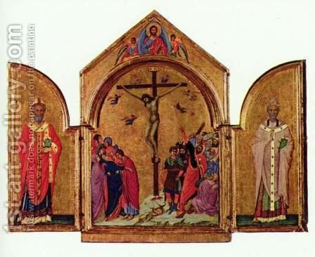 Crucifixion triptych, left St. Nicholas, St. Gregory the right by Duccio Di Buoninsegna - Reproduction Oil Painting