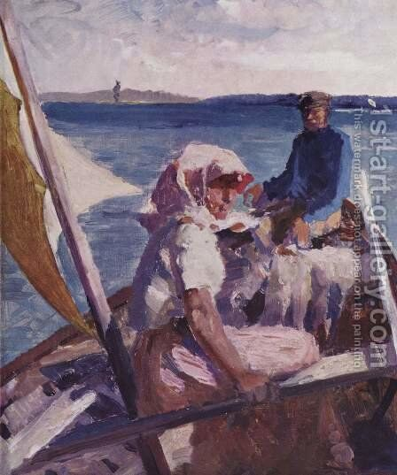 At sea by Albert Edelfelt - Reproduction Oil Painting