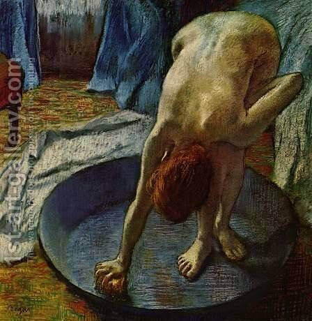 Woman in the bathtub by Edgar Degas - Reproduction Oil Painting