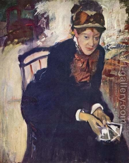 Portrait of Miss Cassatt, holding the cards by Edgar Degas - Reproduction Oil Painting