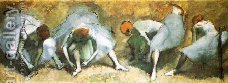 Dancers bounding their shoes by Edgar Degas - Reproduction Oil Painting