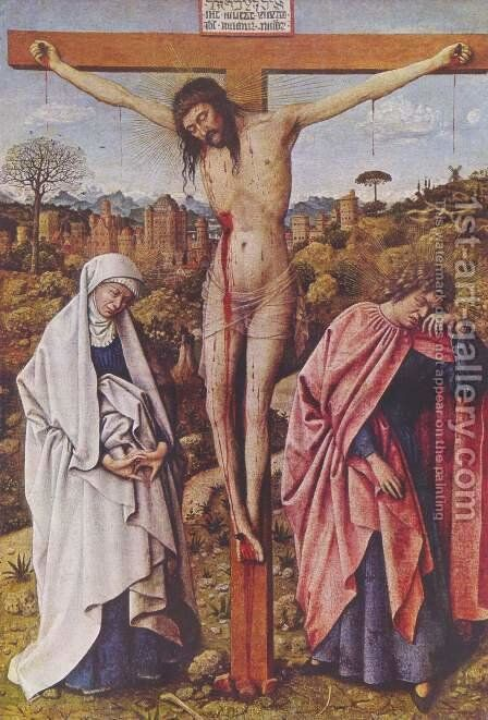 Christ on the Cross between Mary and John by Hubert van Eyck - Reproduction Oil Painting