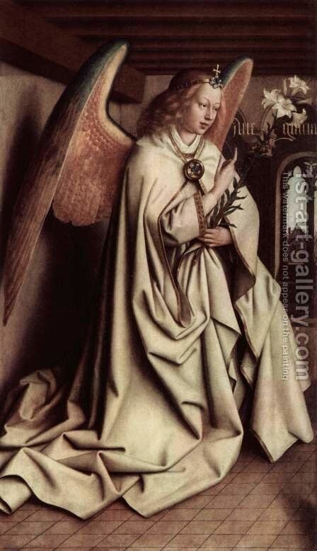 Ghent altar altar of the Mystic Lamb, left wing tip, middle, inner scene Announcing Angel by Hubert van Eyck - Reproduction Oil Painting