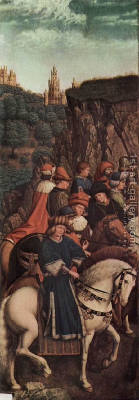 Ghent altar altar of the Mystic Lamb, left wing, bottom, outer scene, the Three Holy Kings by Hubert van Eyck - Reproduction Oil Painting