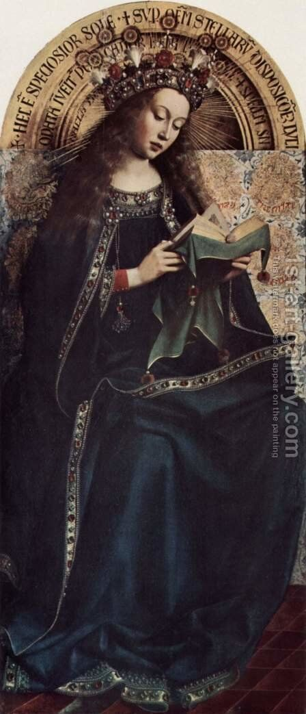 Ghent altar altar of the Mystic Lamb, upper left main plaque, Scene Madonna Enthroned by Hubert van Eyck - Reproduction Oil Painting