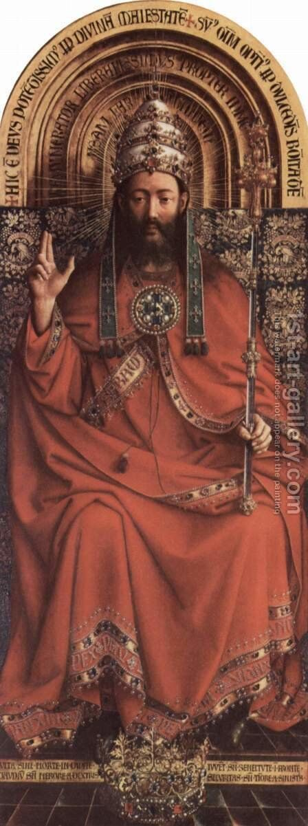 Ghent altar altar of the Mystic Lamb, upper middle head table, scene enthroned God the Father by Hubert van Eyck - Reproduction Oil Painting