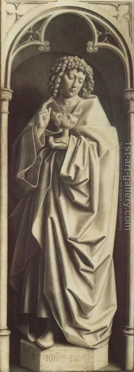 Ghent altar altar of the Mystic Lamb, right wing, lower inner scene of St. John the Evangelist, Sculpture imitation by Hubert van Eyck - Reproduction Oil Painting