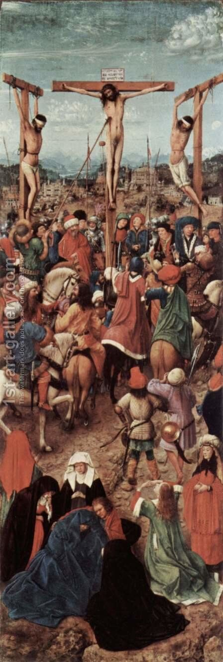 Crucifixion, the wing of a diptych, fragment by Jan Van Eyck - Reproduction Oil Painting