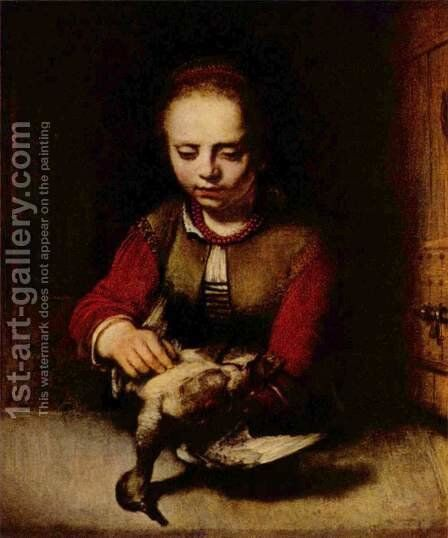 Young Girl Plucking a Duck by Barent Fabritius - Reproduction Oil Painting