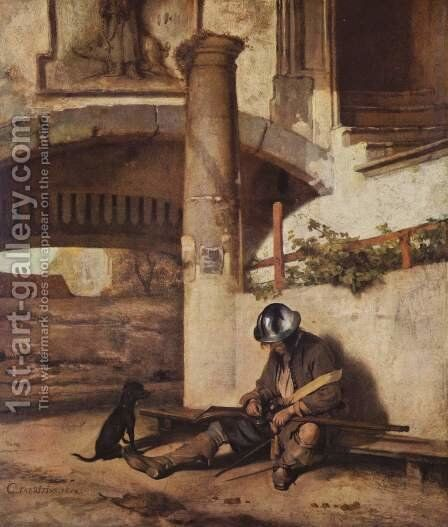 The gate guard (old version) by Carel Fabritius - Reproduction Oil Painting