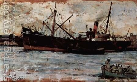 Ships in a port by Giovanni Fattori - Reproduction Oil Painting