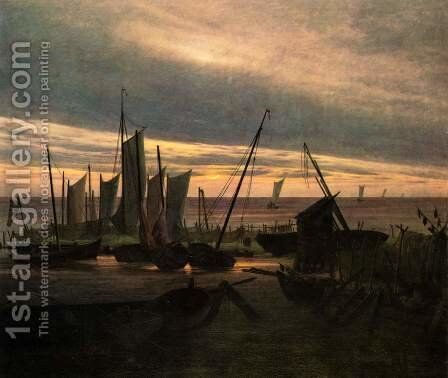 Ships in the harbor at night (after sunset) by Caspar David Friedrich - Reproduction Oil Painting
