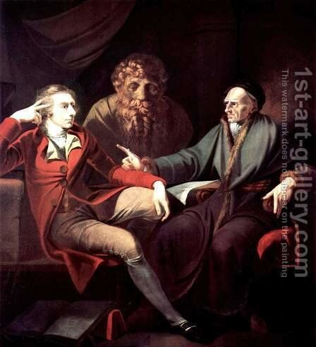 Johann Heinrich Fuseli talking to the Zurich historian and writer, Johann Jacob Bodmer by Johann Heinrich Fussli - Reproduction Oil Painting