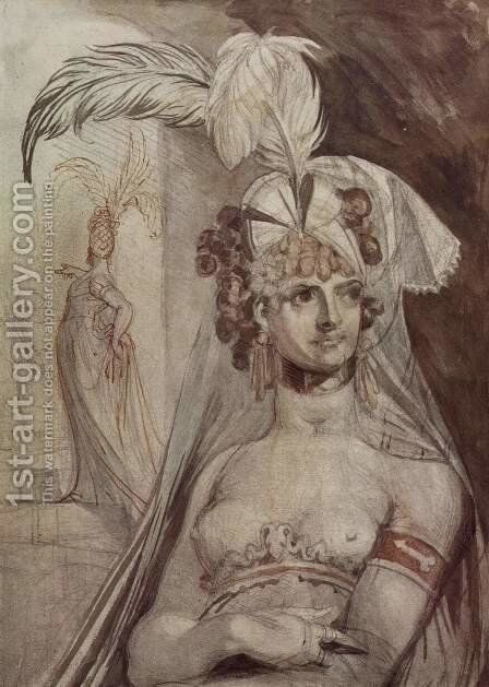 Half figure of a courtesan with plume, train and veil in her hair by Johann Heinrich Fussli - Reproduction Oil Painting