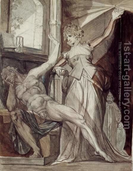 Kriemhild shows Gunther in prison the Nibelungen Ring by Johann Heinrich Fussli - Reproduction Oil Painting