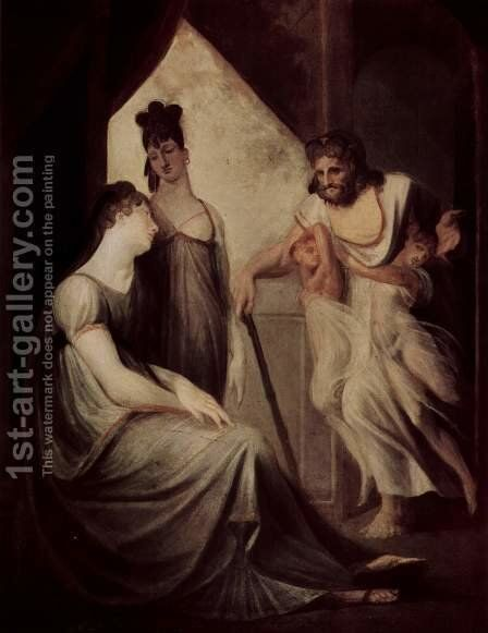 Thetis asks Hephaestus to forge an armor for her son Achilles by Johann Heinrich Fussli - Reproduction Oil Painting