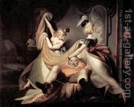 Falstaff in the laundry basket by Johann Heinrich Fussli - Reproduction Oil Painting
