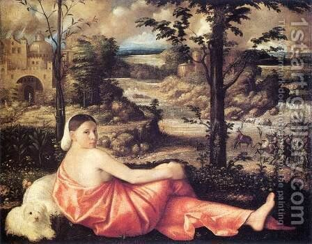 Reclining Woman in a Landscape 1520-24 by Cariani - Reproduction Oil Painting