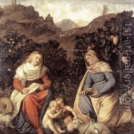 Sacred Conversation 1524-30 by Cariani - Reproduction Oil Painting