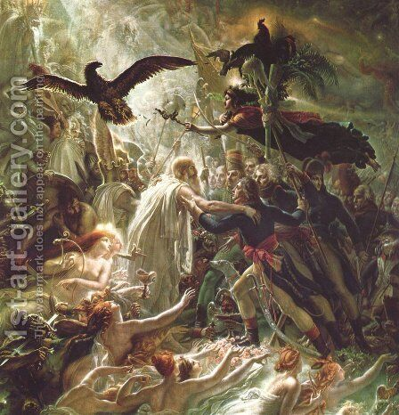 Apotheosis during the liberation war for the fallen French heroes by Anne-Louis Girodet De Roussy-Trioson - Reproduction Oil Painting
