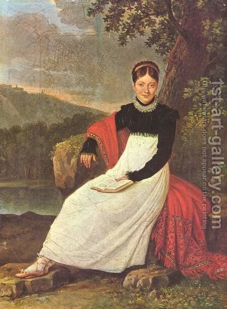 Queen Caroline (Bonaparte) of Naples in the traditional costume by Giuseppe Cammarano - Reproduction Oil Painting