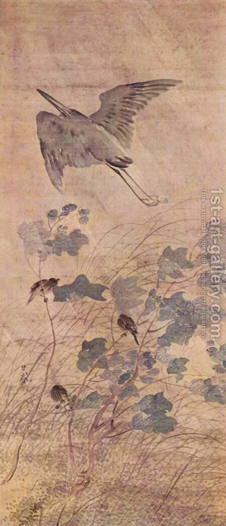 Heron on an olive tree by Matsumura Goshun - Reproduction Oil Painting